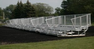 Group of transportable bleachers designed to easily moved to another location