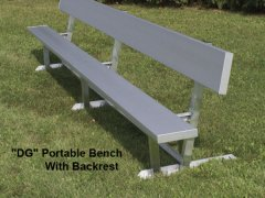 15' Portable Outdoor Bench with Backrest