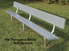 Seats 10, Permanent Bench with Galvanized Pipe Legs
