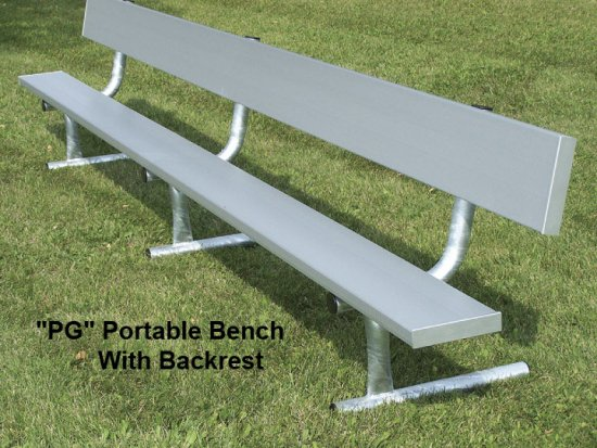 NRS Aluminum Portable Bench With Backrest Galv Frame - Picnic table with backrest