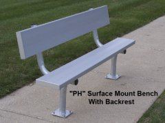 Seats 5,  8' Surface Mount Bench